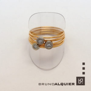 Bruno Alquier - Bague multi anneaux en or et diamants