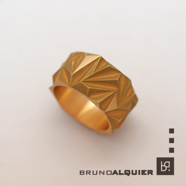 Bruno Alquier - Bague Confluence en or rouge mat