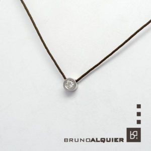Bruno Alquier - Collier diamant en or blanc sur cordon