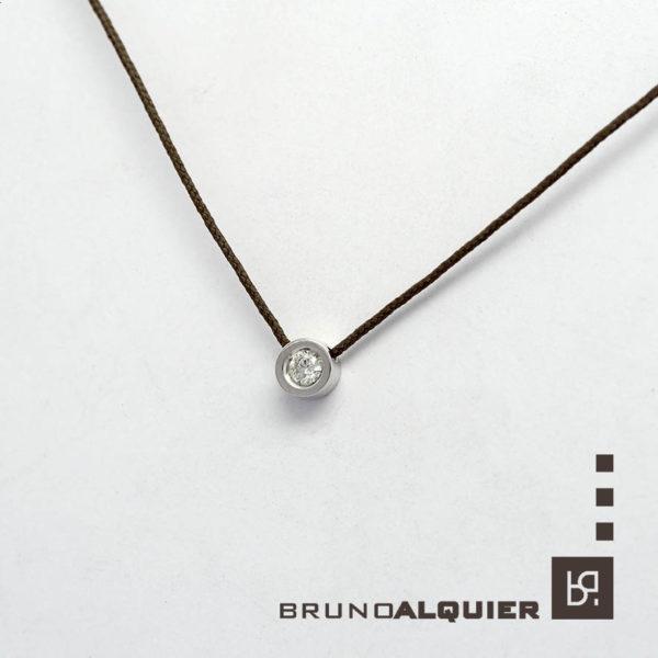 Bruno Alquier - Collier diamant en or blanc sur cordon