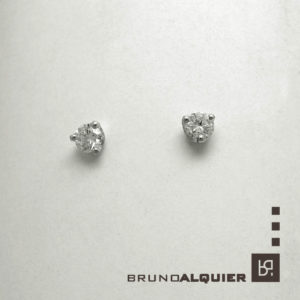 Bruno Alquier - Boucles d'oreille diamants en or blanc 3 griffes ronds