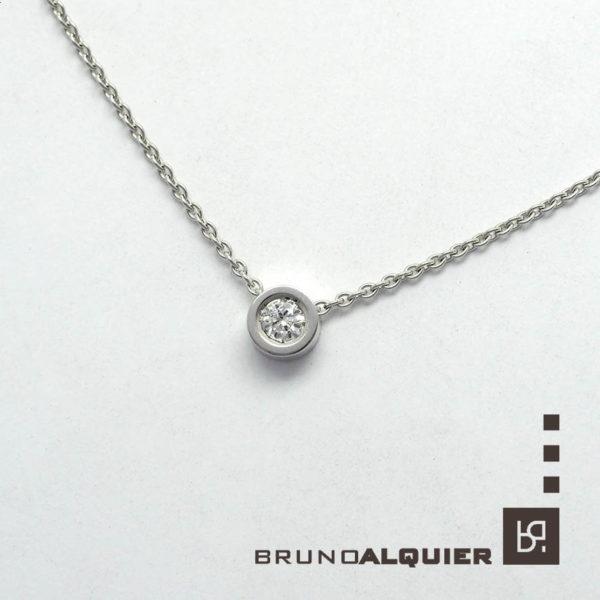 "Bruno Alquier - Collier ""first"" avec diamant en or blanc"
