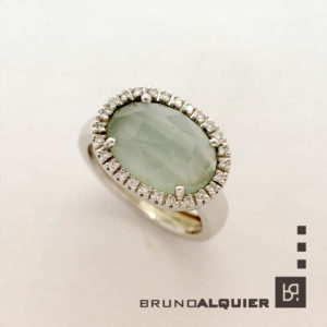 Bruno Alquier - Bague Fancy XXL avec aigue-marine et diamants en or blanc