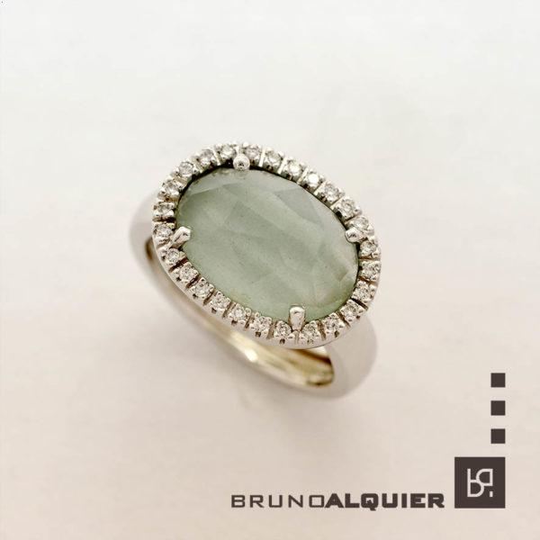Bruno Alquier - Bague Fancy XXL avec aigue-marine et diamants en or blanc