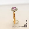 Bruno Alquier - Solitaire saphir rose mini entourage diamants en or rose et blanc