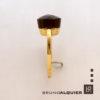 Bruno Alquier - Bague square quartz fumé en or jaune